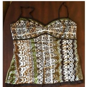 Gianni Bini Silk Tank Top (Brown/green, Size 6)
